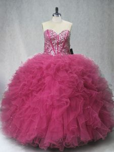 New Arrival Coral Red Tulle Lace Up Quinceanera Dress Sleeveless Floor Length Beading and Ruffles