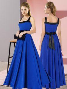 Comfortable Floor Length Royal Blue Quinceanera Court Dresses Chiffon Sleeveless Belt