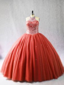 Sleeveless Beading Lace Up Vestidos de Quinceanera with Red Brush Train