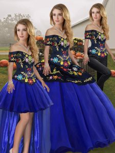Floor Length Three Pieces Sleeveless Royal Blue Sweet 16 Dress Lace Up