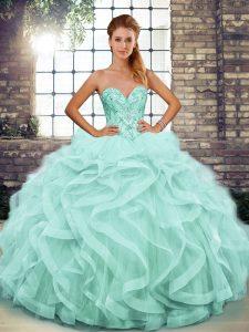 Fabulous Tulle Sleeveless Floor Length Vestidos de Quinceanera and Beading and Ruffles