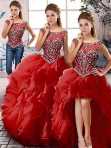 Decent Red Organza Zipper Ball Gown Prom Dress Sleeveless Floor Length Beading and Ruffles