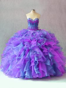 Multi-color Lace Up Quince Ball Gowns Beading and Appliques and Ruffles Sleeveless Floor Length