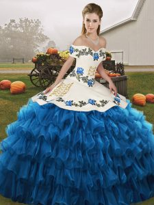 Off The Shoulder Sleeveless Organza Quinceanera Dresses Embroidery and Ruffled Layers Lace Up