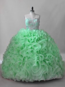 Clearance Fabric With Rolling Flowers Lace Up Sweetheart Sleeveless Sweet 16 Dresses Brush Train Beading