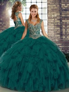 Adorable Sleeveless Floor Length Beading and Ruffles Lace Up Sweet 16 Dress with Peacock Green