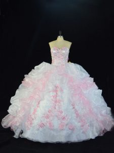 Organza Sleeveless Floor Length Quinceanera Gown and Beading and Pick Ups