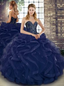 Fashionable Floor Length Lace Up Quinceanera Dress Navy Blue for Military Ball and Sweet 16 and Quinceanera with Beading and Ruffles