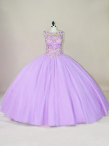Cheap Sleeveless Tulle Floor Length Lace Up Ball Gown Prom Dress in Lavender with Beading