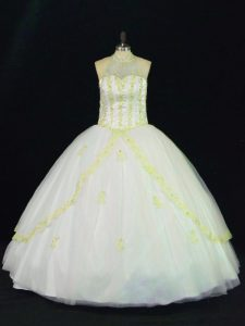 Luxurious Yellow And White Ball Gowns Tulle Halter Top Sleeveless Appliques Floor Length Lace Up Quinceanera Dress