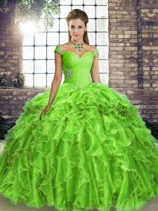 Comfortable Sleeveless Beading and Ruffles Lace Up Vestidos de Quinceanera with Brush Train