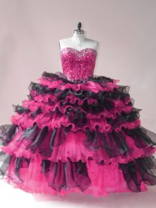 Pink And Black Organza Lace Up Sweet 16 Dress Sleeveless Beading and Ruffled Layers
