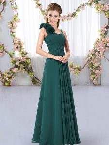 Modest Straps Sleeveless Court Dresses for Sweet 16 Floor Length Hand Made Flower Peacock Green Chiffon