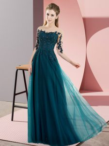 Peacock Green Chiffon Lace Up Dama Dress for Quinceanera Half Sleeves Floor Length Beading and Lace