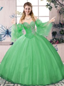 Green Lace Up Sweet 16 Dresses Beading Long Sleeves Floor Length