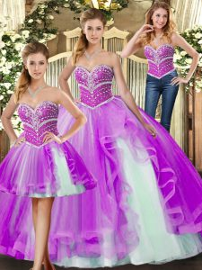Sweetheart Sleeveless Ball Gown Prom Dress Floor Length Beading Lilac Tulle
