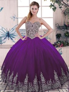 High End Purple Ball Gowns Tulle Sweetheart Sleeveless Beading and Embroidery Floor Length Lace Up Ball Gown Prom Dress