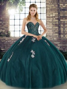 Suitable Tulle Sweetheart Sleeveless Lace Up Beading and Appliques Sweet 16 Dress in Peacock Green
