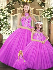 Best Selling Lilac Lace Up Halter Top Embroidery 15th Birthday Dress Tulle Sleeveless