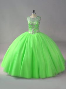 Glorious 15th Birthday Dress Sweet 16 and Quinceanera with Beading Scoop Sleeveless Lace Up