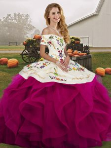 Off The Shoulder Sleeveless Tulle Quinceanera Gown Embroidery and Ruffles Lace Up
