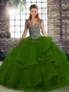 Stunning Straps Sleeveless Lace Up 15 Quinceanera Dress Green Tulle