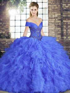 Hot Sale Blue Tulle Lace Up Sweet 16 Dress Sleeveless Floor Length Beading and Ruffles