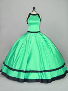 Apple Green Satin Zipper Scoop Sleeveless Floor Length 15th Birthday Dress Ruching