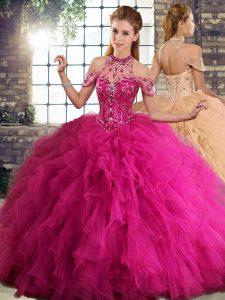 Halter Top Sleeveless Sweet 16 Dress Floor Length Beading and Ruffles Fuchsia Tulle