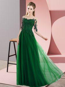 Beauteous Floor Length Dark Green Dama Dress Chiffon Half Sleeves Beading and Lace