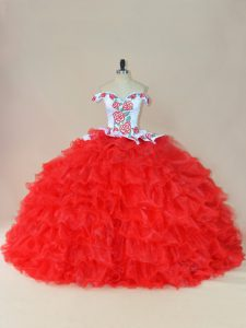 White And Red Organza Lace Up Quince Ball Gowns Sleeveless Brush Train Embroidery and Ruffles