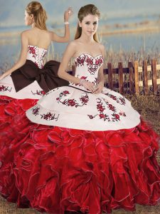 Ball Gowns Quinceanera Dress White And Red Sweetheart Organza Sleeveless Floor Length Lace Up