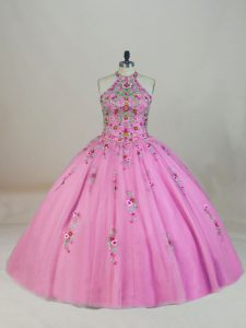 Best Selling Rose Pink Ball Gowns Appliques and Embroidery Sweet 16 Dresses Lace Up Tulle Sleeveless