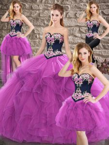 Purple Ball Gowns Tulle Sweetheart Sleeveless Beading and Embroidery Floor Length Lace Up Quinceanera Dresses