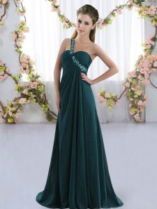 Peacock Green Sleeveless Beading Lace Up Quinceanera Court of Honor Dress