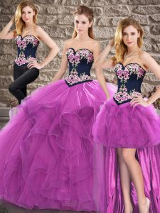 Sumptuous Purple Sleeveless Floor Length Beading and Embroidery Lace Up Quinceanera Dress