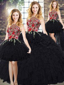 Embroidery and Ruffles 15 Quinceanera Dress Black Zipper Sleeveless