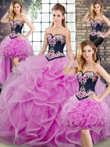 Modern Sweetheart Sleeveless Quinceanera Dress Embroidery and Ruffles Sweep Train Lace Up