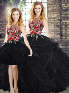 Black Zipper Scoop Embroidery and Ruffles Quinceanera Dresses Sleeveless