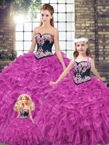 New Arrival Fuchsia Sweetheart Lace Up Embroidery and Ruffles Vestidos de Quinceanera Sleeveless