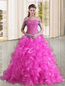 Elegant Fuchsia A-line Beading and Lace and Ruffles Quince Ball Gowns Lace Up Organza Sleeveless