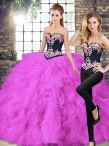 Most Popular Fuchsia Lace Up Sweet 16 Dress Beading and Embroidery Sleeveless Floor Length