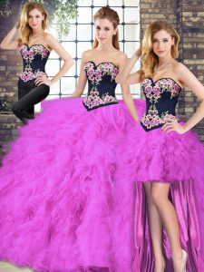 Fuchsia Quinceanera Dresses Sweet 16 and Quinceanera with Beading and Embroidery Sweetheart Sleeveless Lace Up