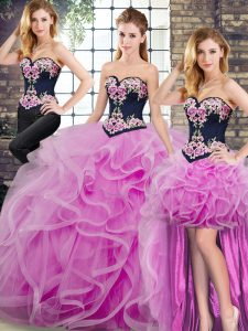 Low Price Lilac Ball Gowns Sweetheart Sleeveless Tulle Sweep Train Lace Up Embroidery and Ruffles Sweet 16 Dresses