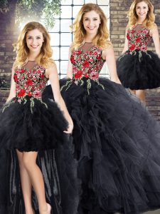 Elegant Black Sleeveless Zipper 15 Quinceanera Dress for Military Ball and Sweet 16 and Quinceanera