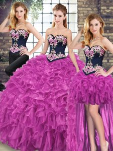 Super Fuchsia Ball Gowns Embroidery and Ruffles 15th Birthday Dress Lace Up Organza Sleeveless