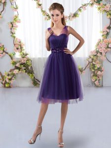 Wonderful Purple Sleeveless Tulle Zipper Quinceanera Dama Dress for Prom and Party