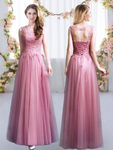 Nice Pink Sleeveless Tulle Lace Up Court Dresses for Sweet 16 for Prom and Party and Wedding Party