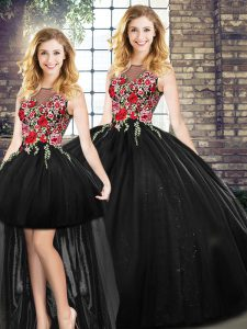 Floor Length Black Quinceanera Gown Sleeveless Embroidery
