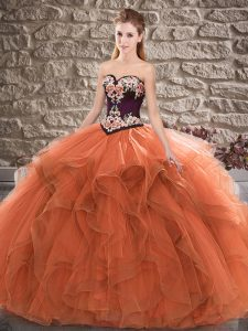 Fabulous Orange Ball Gowns Beading and Embroidery Vestidos de Quinceanera Lace Up Tulle Sleeveless Floor Length